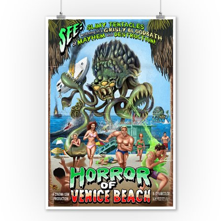 Venice Beach, California - Horror of Venice Beach - Lantern Press Poster (9x12 Art Print, Wall Decor Travel Poster) (Horror Home Decor)