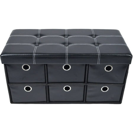 "Achim 6 Drawer Storage Ottoman, Black Faux Leather, 30"" x 15"" x 15"""
