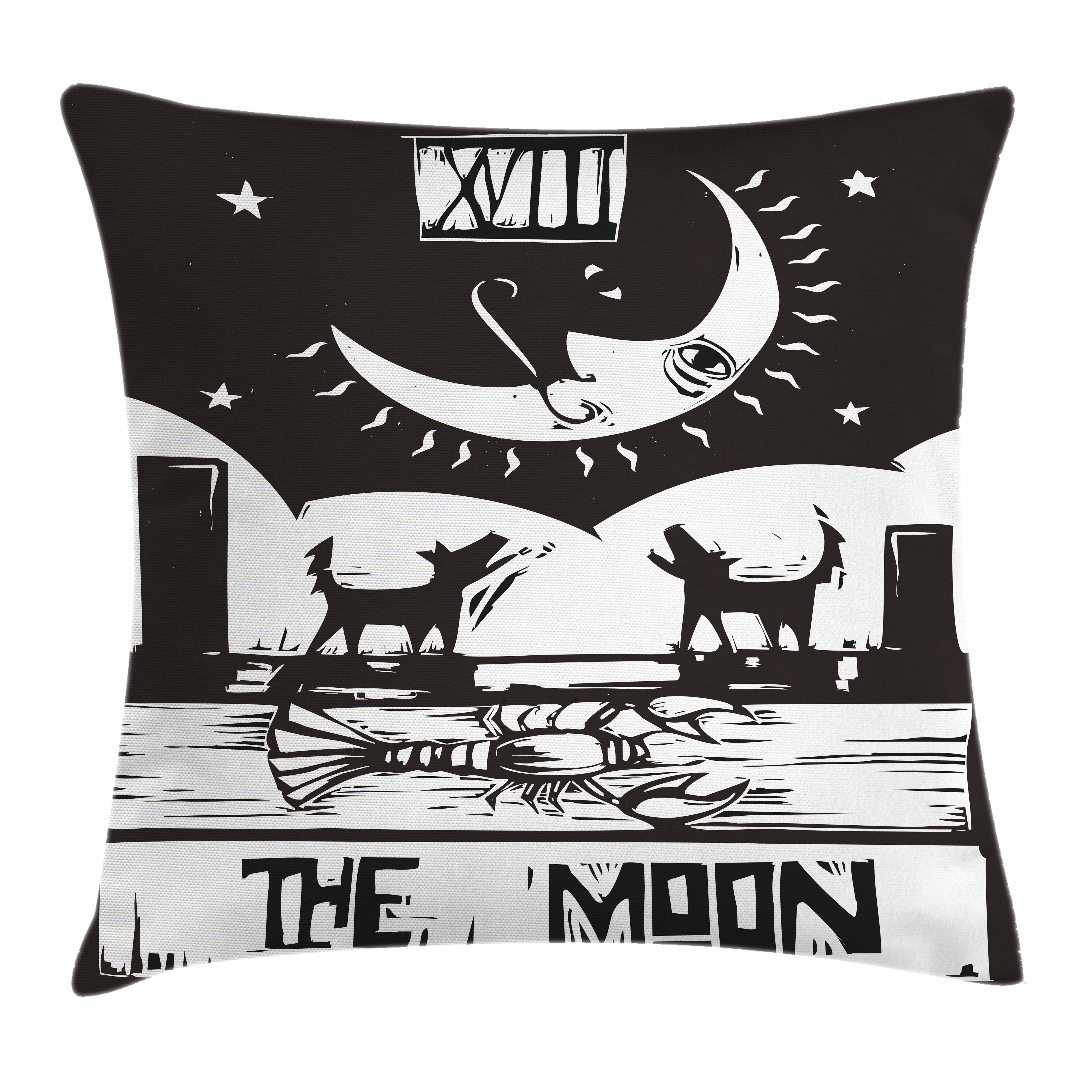 Moon Throw Pillow Cushion Cover Black And White Drawing
