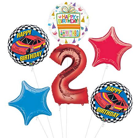 Race Car 2nd Birthday Party Supplies Stock Car Balloon Bouquet - Race Car Birthday Party Supplies