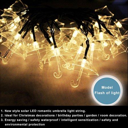 Led Solar Romantic Umbrella Light String 5 meters 20 Lights ()