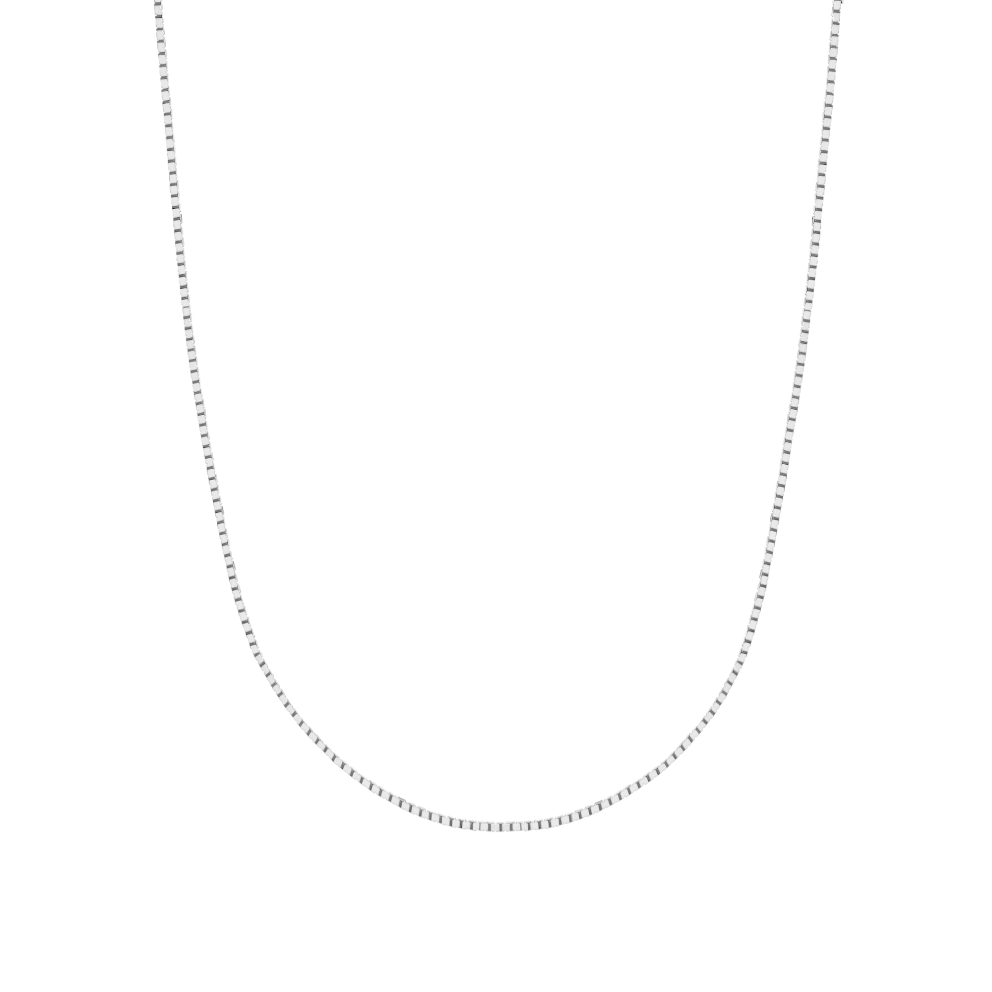 14K Solid White Gold Box Chain Necklace 0.6 Mm (16, 18, 20 and 24 Inches)