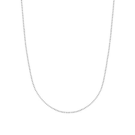 14K Solid White Gold Box Chain Necklace 0.6 Mm (16, 18, 20 and 24 Inches) ()