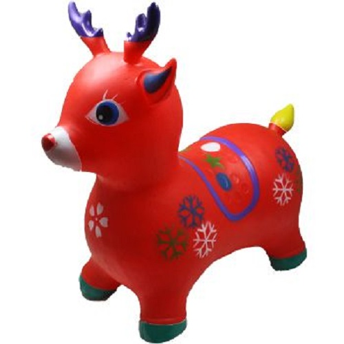 Red Deer Reindeer Animal Hoppers Children's Ride On Toy Hopper Bouncy Inflatable Ride-On