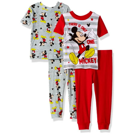 2dfa6ea6d384 Disney Toddler Boys  Mickey Mouse 4-Piece Cotton Pajama Set