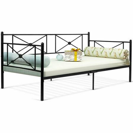 Gymax Metal Daybed Twin Bed Frame Stable Steel Slats Platform Base Bed Sofa LivingRoom ()
