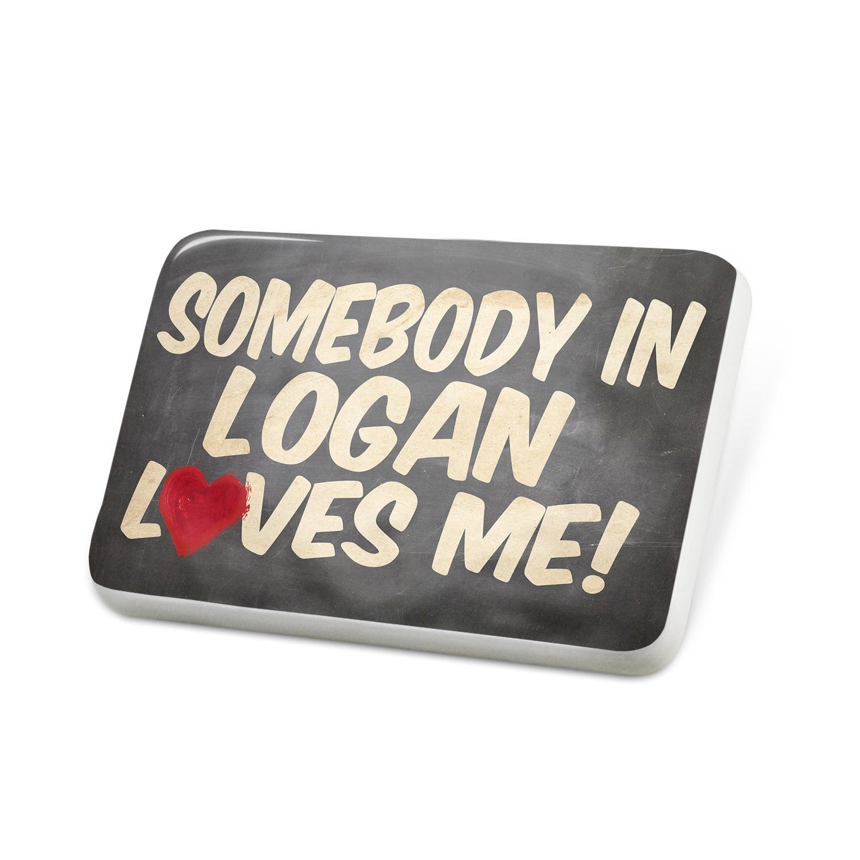 Porcelein Pin Somebody in Logan Loves me, Utah Lapel Badge – NEONBLOND