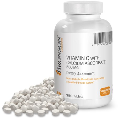 Bronson Vitamin C 500 mg Buffered with Calcium Ascorbate, 250 (Vitamin C Powder Buffered With Calcium And Magnesium)