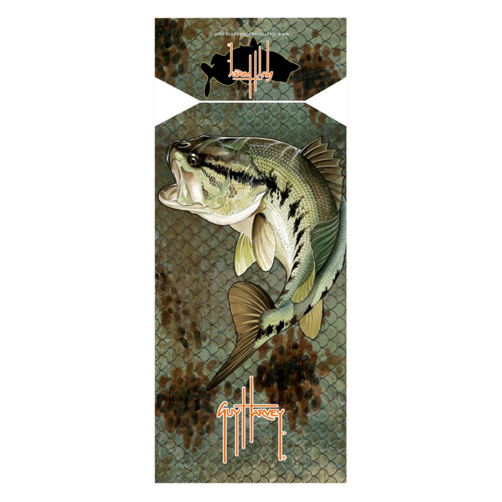 Guy Harvey Bass Camo Sea Lounge Chair Beach Towel with Hood