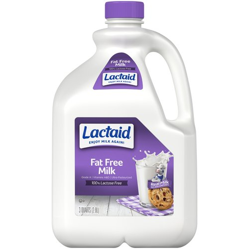 Lactaid 100% Lactose Free Fat Free Milk, 96 oz