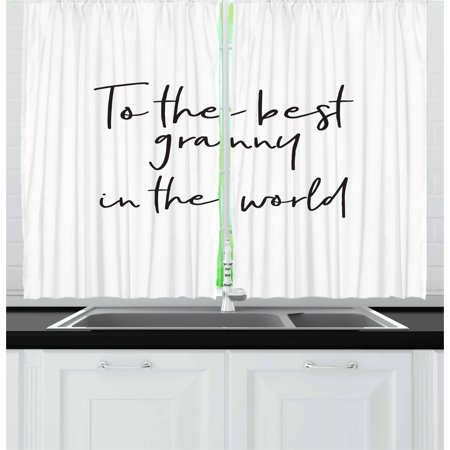 Grandma Curtains 2 Panels Set, Brush Calligraphy Hand Drawn Quote the Best Granny in the World Monochrome Design, Window Drapes for Living Room Bedroom, 55W X 39L Inches, Black White, by
