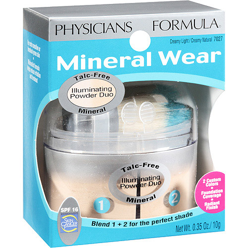 Physicians Formula Mineral Wear Talc Free Illuminating Powder Duo, Creamy Light/Creamy Natural SPF 16 7027