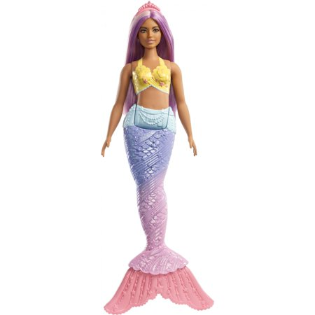- Barbie Dreamtopia Mermaid Doll with Long Purple Streaked Hair