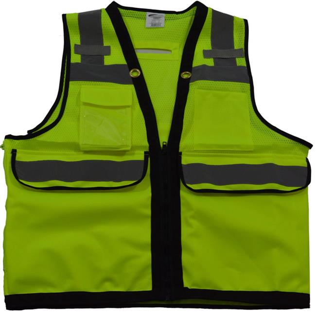 ANSI-ISEA Class 2 Deluxe 8-Pocket High Visibility Heavy Duty Surveyors Safety Vest, 4X