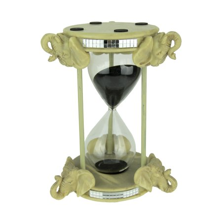 Wooden Sand Timer - Off-White Faux Carved Elephant Head Hour Glass Sand Timer