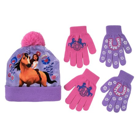 Girls Hat and Glove Set, Kids Spirit Riding Free Winter Hat and 2 Pair Gloves Cold Weather Set