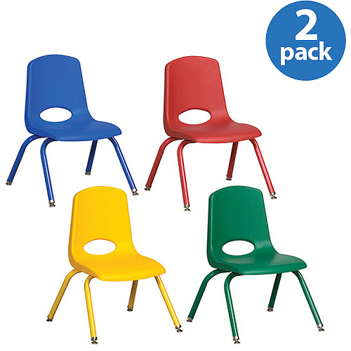 """14"""" Stackable School Chairs with Matching Legs, Assorted Colors, Set of 6"""