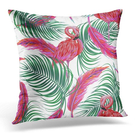 CMFUN Hawaiian Tropical Bird Pink Flamingo Palm Leaves Feathers on White Boho Style Floral Jungle Miami Throw Pillow Case Pillow Cover Sofa Home Decor 16x16 Inches ()