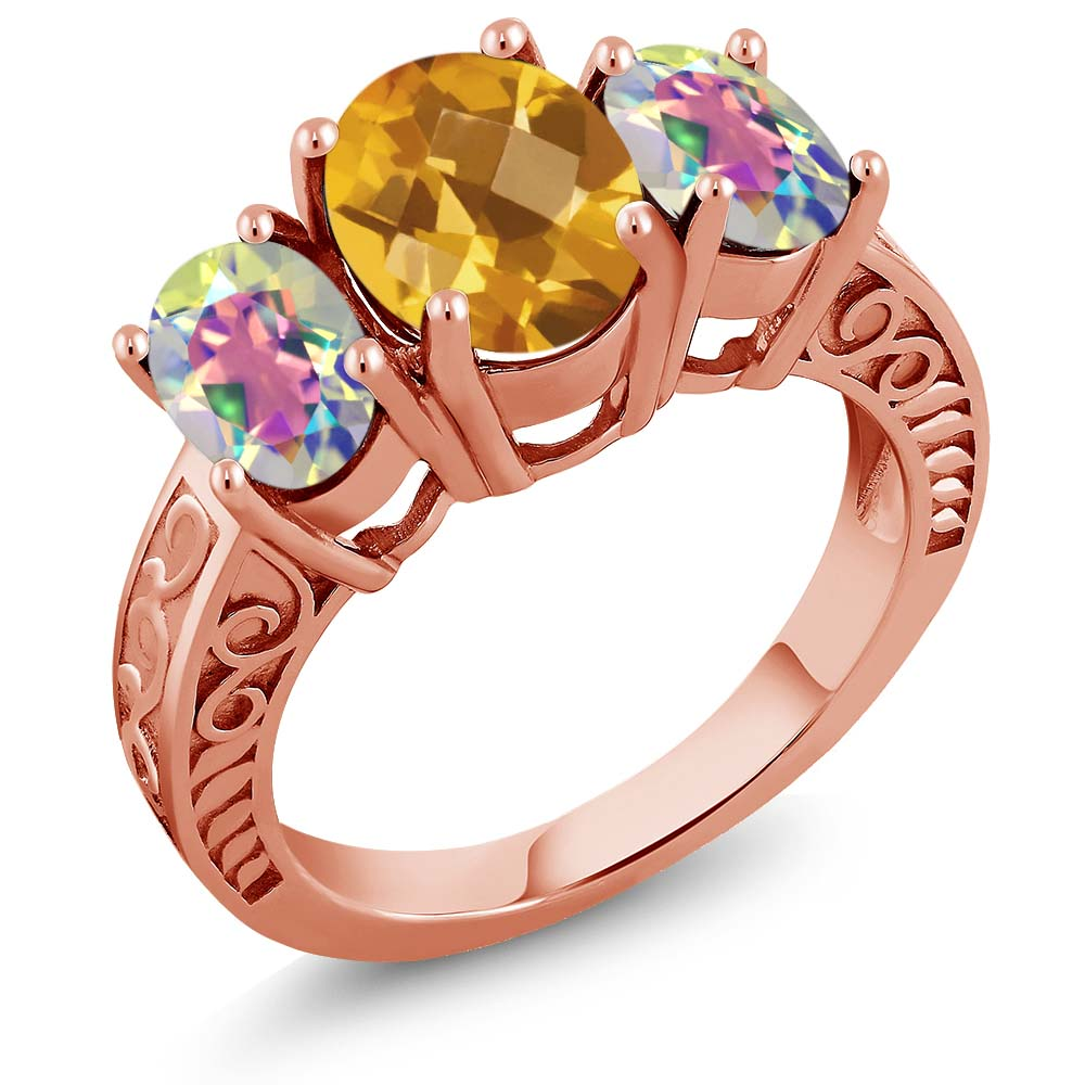 2.90 Ct Oval Checkerboard Yellow Citrine Mercury Mist Mystic Topaz 18K Rose Gold Plated Silver Ring