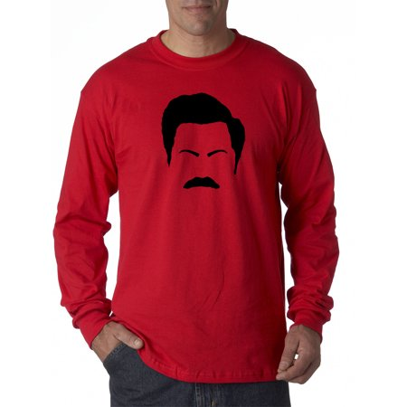 Ron Swanson Halloween (New Way 874 - Unisex Long-Sleeve T-Shirt Ron Swanson Silhouette Facial Face Parks Rec Small)