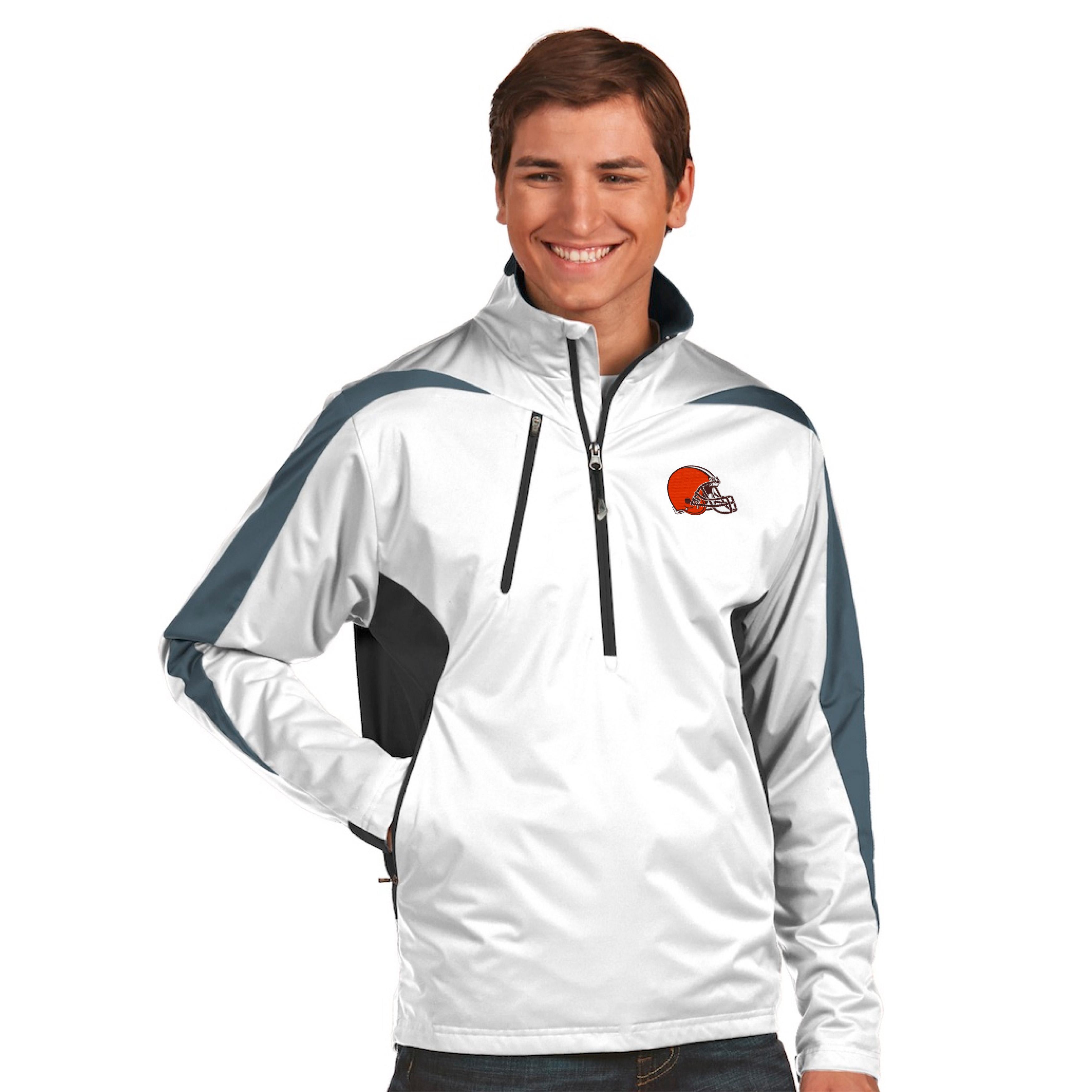 Cleveland Browns Antigua Discover Desert Dry Xtra-Lite Half-Zip Jacket - White - M