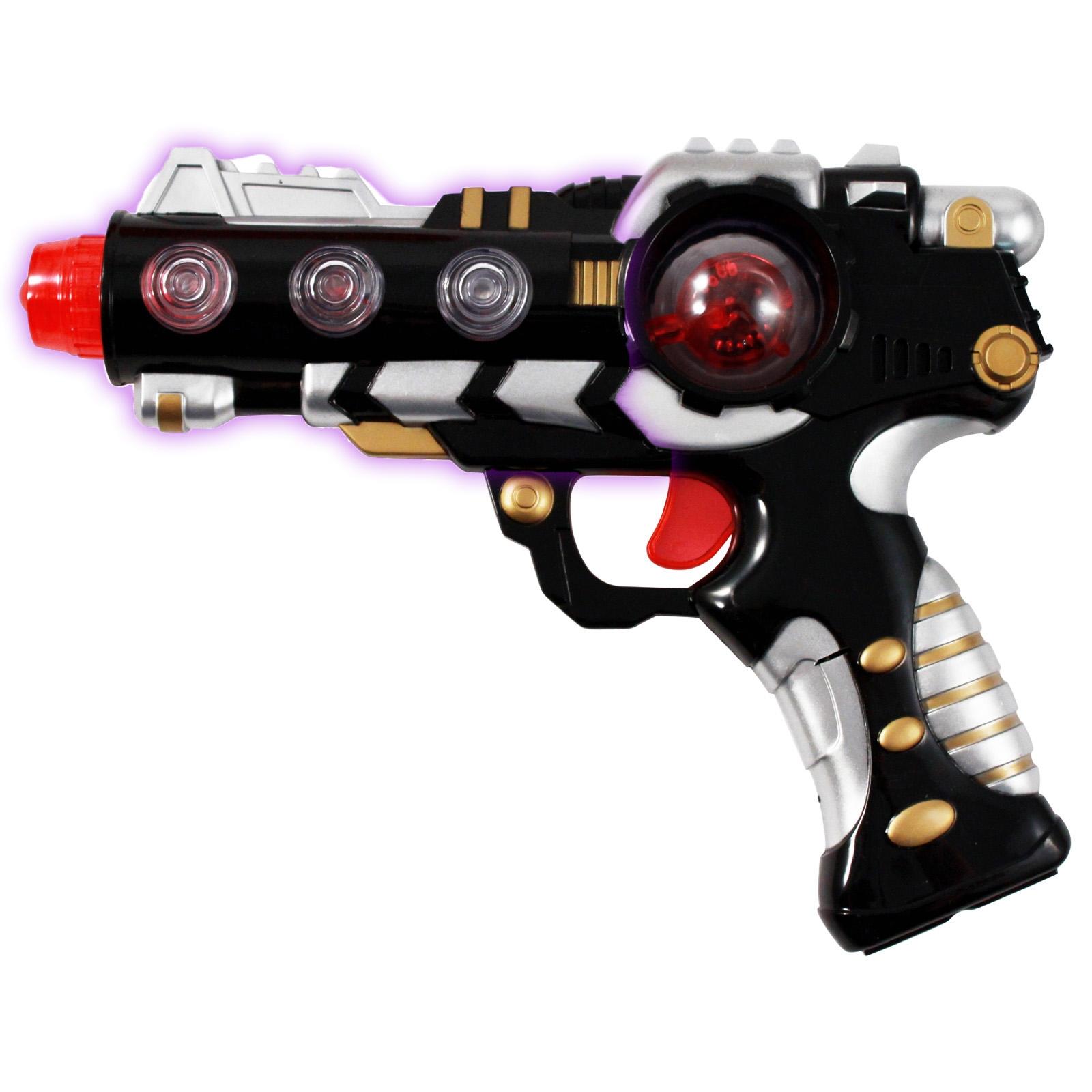 Intergalactic Superhero Laser Space Gun with Alternating LED Lights Sound - Black