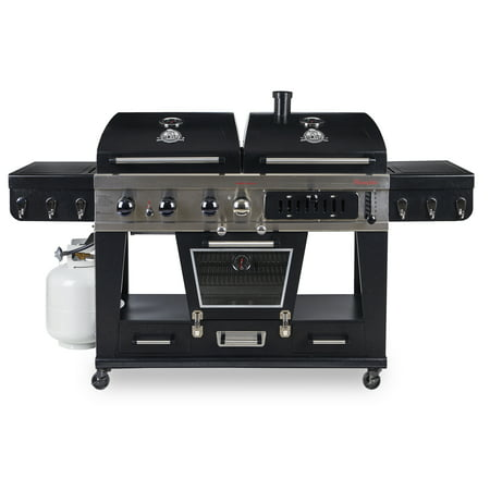 Pit Boss Memphis Ultimate 4-in-1 Gas & Charcoal Combo Grill with Smoker (Gas Charcoal Smoker Grill)