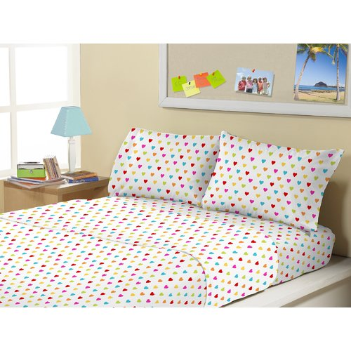 Zoomie Kids Tennyson 4 Piece Queen of Hearts Sheet Set