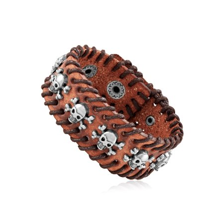 Brown Leather Skull Studs Stitched Cuff Bracelet (29mm) -