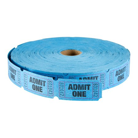 MACO Single Roll - Admit One - Tickets, 1 x 2 Inches, Blue, 2000 Per Roll (18-611) - Rolls Of Tickets