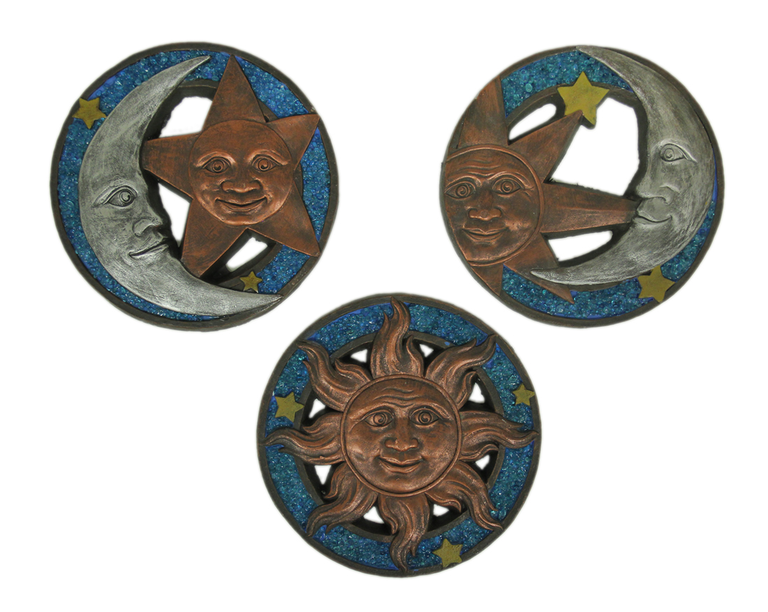 Blue Metallic 3 Piece Celestial Sun and Moon Cement Stepping Stone Set by HOME VIEW DESIGN, INC.