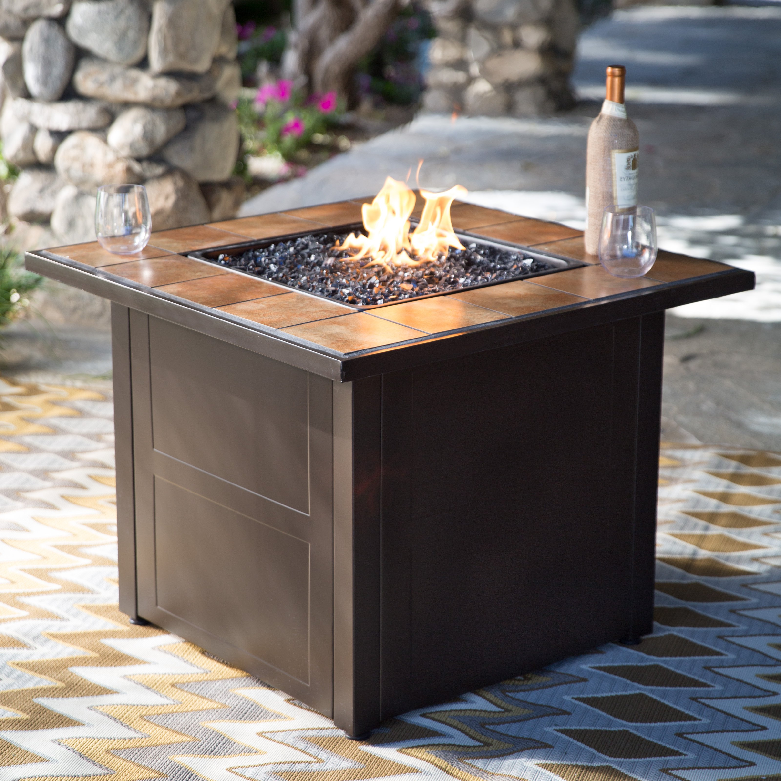 Red Ember Desert Sand 32 in. Square Propane Fire Pit Table ...