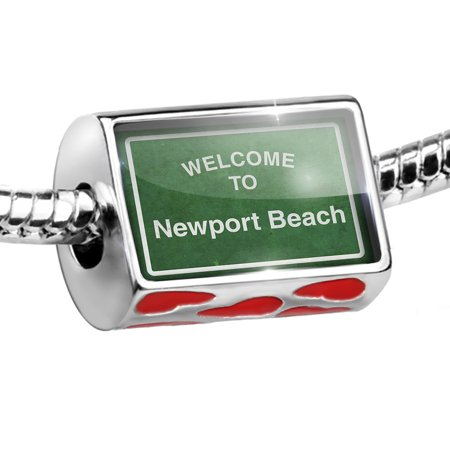 Bead Green Road Sign Welcome To Newport Beach Charm Fits All European Bracelets ()