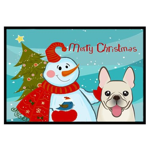 Snowman with French Bulldog Doormat by Carolines Treasures