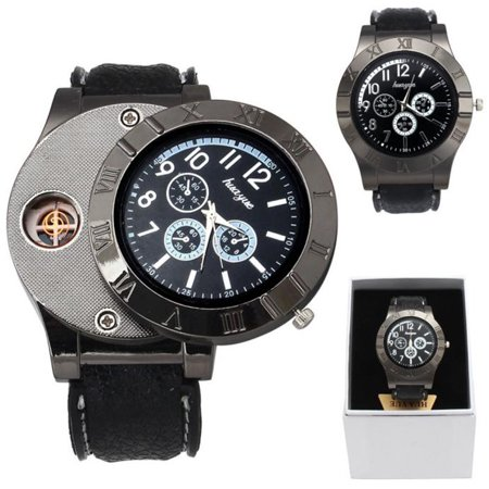 iMeshbean Men Watch USB Cigarette Rechargeable Windproof Flameless Lighter Military Watch