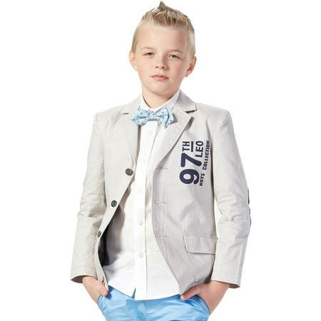 Velvet Blazer Boys (Leo&Lily Boys Kids Print Causal Blazers Jackets Coat With)