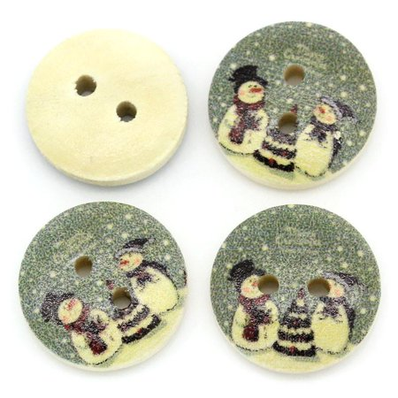 Sexy Sparkles 10 Pcs Round Wood Buttons Green Christmas Tree and Snowman 15mm