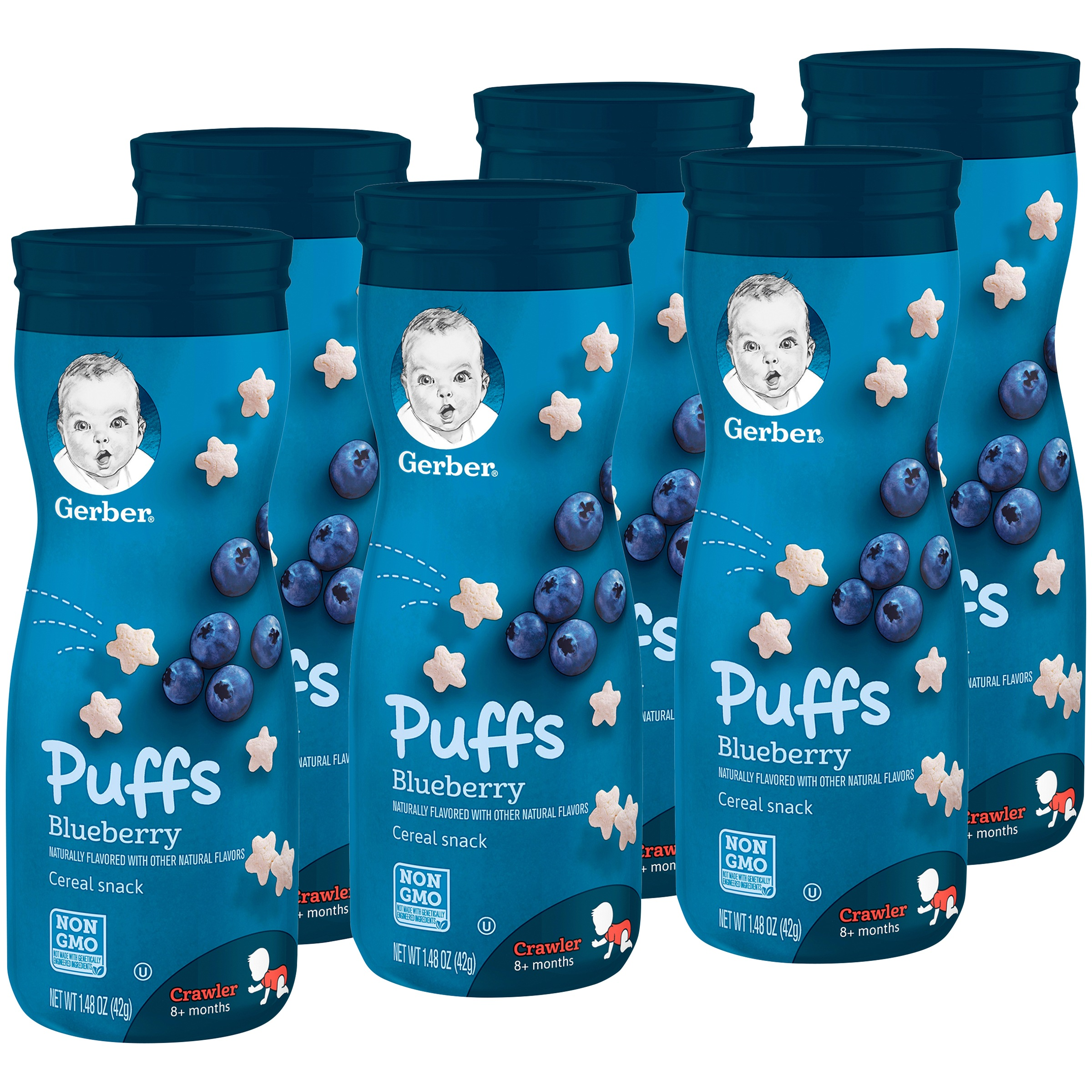 Gerber Graduates Puffs, Blueberry, 1.48 oz (Pack of 6)