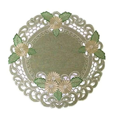 Doily Boutique Round Doily with Gold Daisy on Sage Green Burlap Linen Fabric, Size 11
