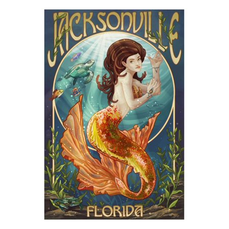 Jacksonville, Florida - Mermaid Scene Print Wall Art By Lantern Press (Halloween Jacksonville Florida)