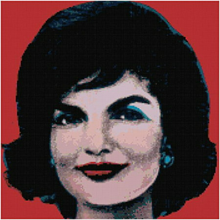 Tiger Cross Stitch Pattern - Andy Warhol Jackie Onassis on Red Counted Cross Stitch Pattern