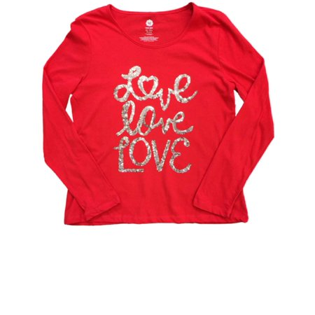 4c87916fce6d Total Girl - Girls Plus Red & Gold Sequin Love Tee Shirt Girls Sparkly Long  Sleeved T-Shirt - Walmart.com