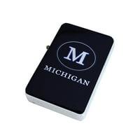 KuzmarK Black Windproof Flip Top Lighter -  Michigan