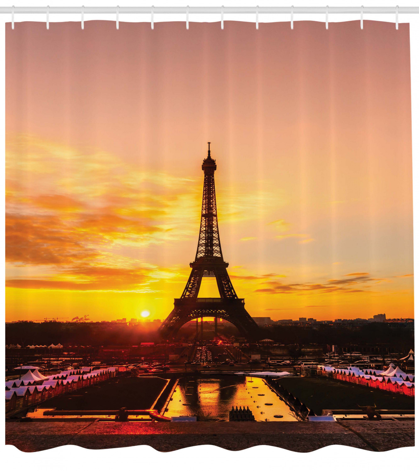 Eiffel Tower Shower Curtain View Of Eiffel Tower At Sunrise Paris Historical Monument Panoramic Fabric Bathroom Set With Hooks Marigold Rose Brown