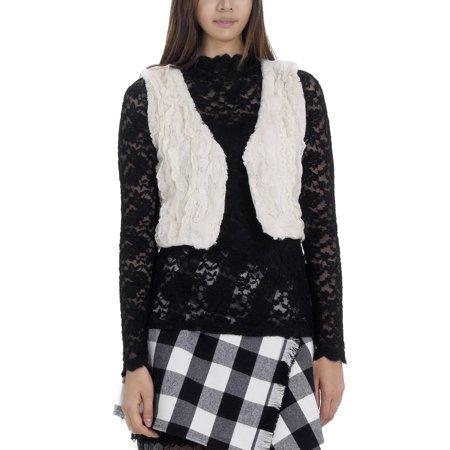 Women's Faux Fur Lace Trimmed Mini Bolero Open Vest (IVORY, SMALL)