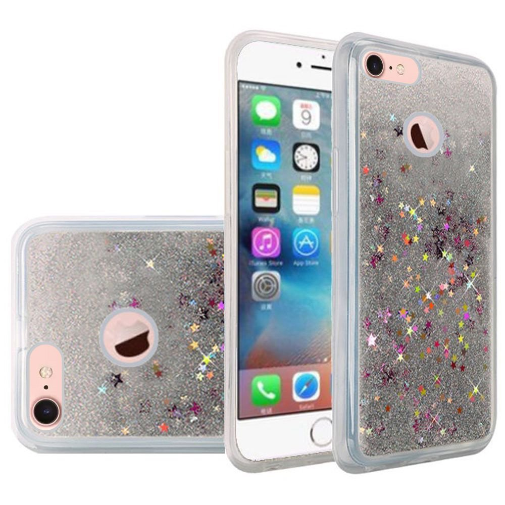 iPhone 7 Fashion Case Screen Protector Combo, Liquid Quicksand Bling Adorable flowing Floating Moving Shine Glitter ShockProof TPU Case 9H HD Tempered Glass Screen Guard for Apple iPhone 7 - Silver