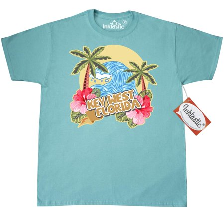 Inktastic Spring Break With Ocean Wave Palm Trees And Hibiscus Flowers - T-Shirt Vacation Sea Flower Key West Florida Mens Adult Clothing Apparel Tees