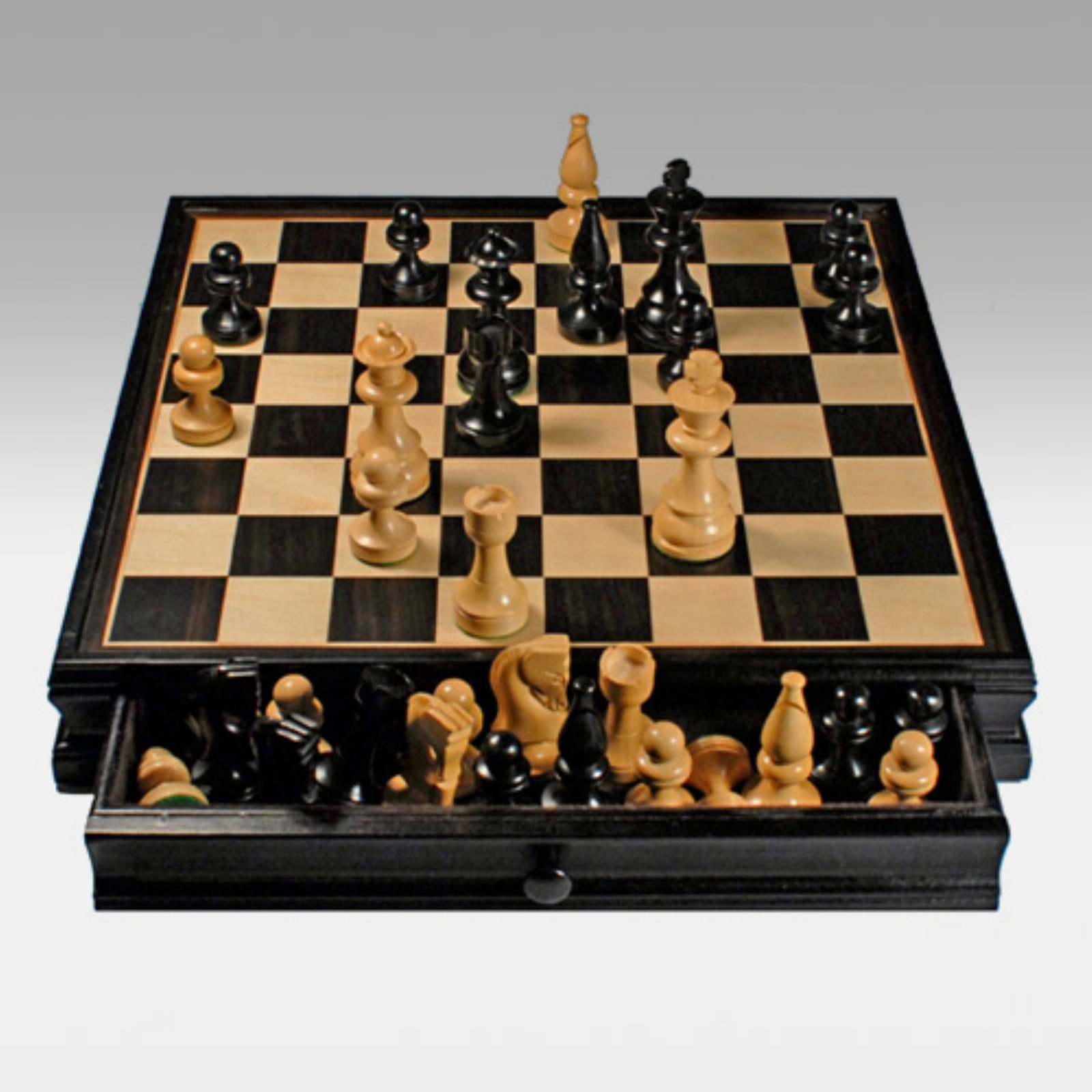 Russian Style Chess and Checkers Game Set, Weighted Chessmen and Black Stained Wood Board with Storage Drawers, 15""