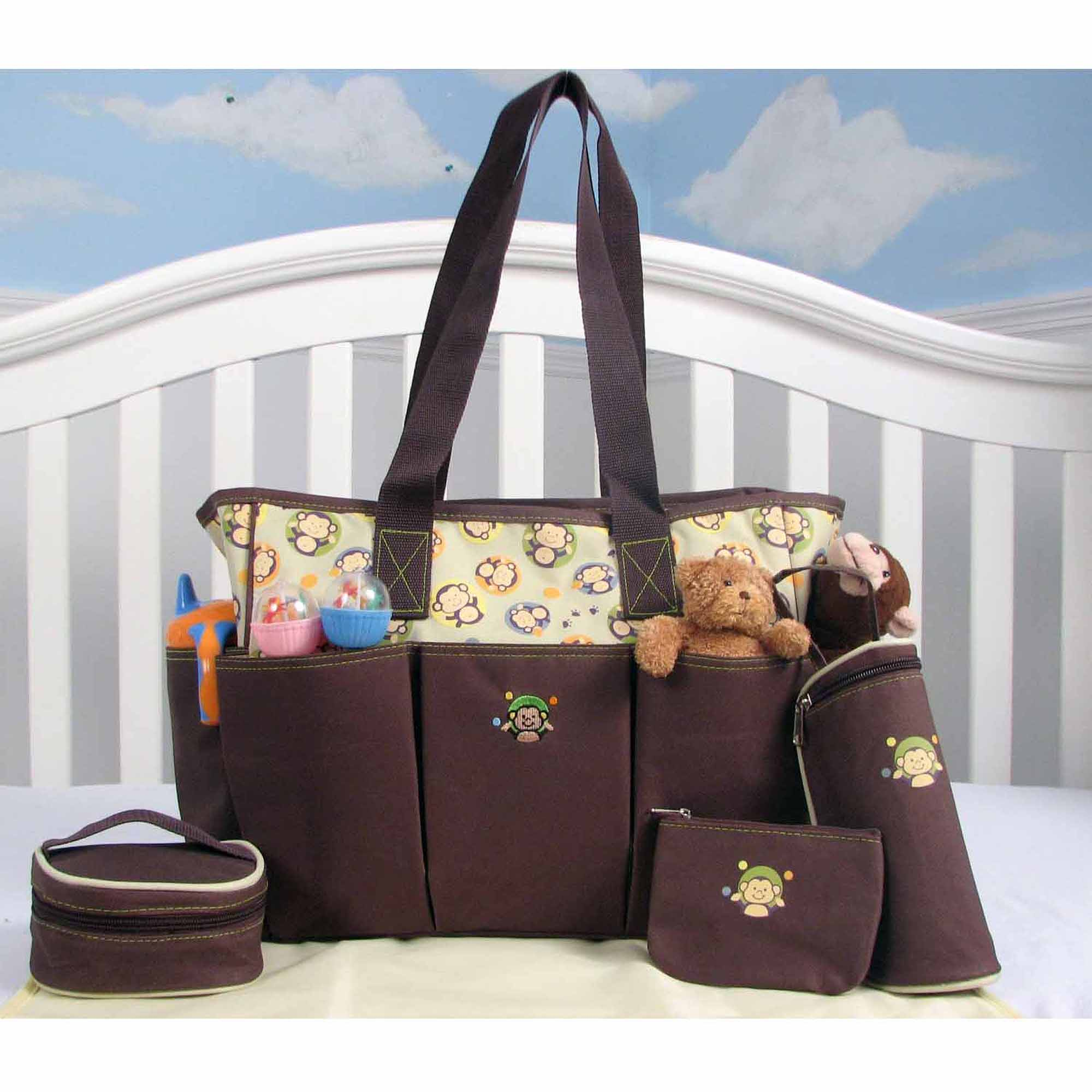 SOHO Curious Monkey 5-in-1 Deluxe Diaper Tote Set
