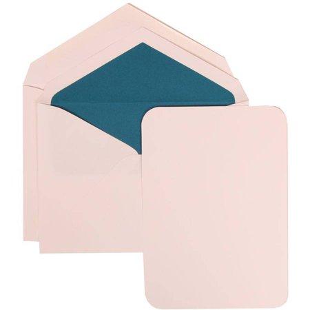 JAM Paper White Card with Blue Lined Envelope Large Wedding Invitation White Rounded Edge Set, 50 Cards (5-1/2